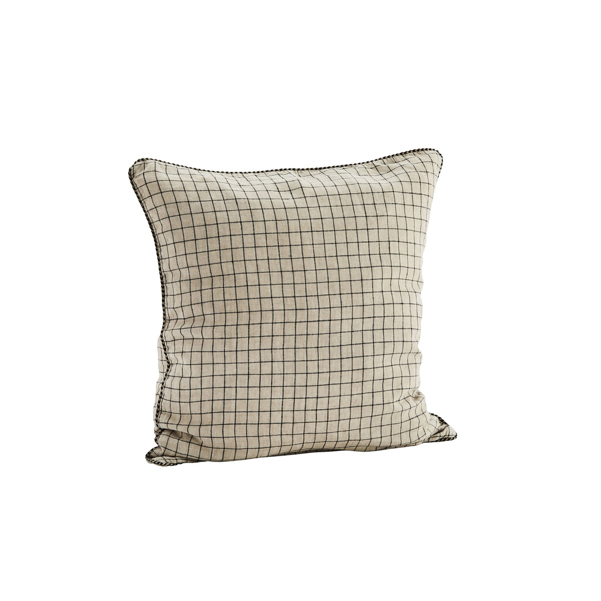 Madam Stoltz Checked Linen Cushion Cover - Scandi Minimal