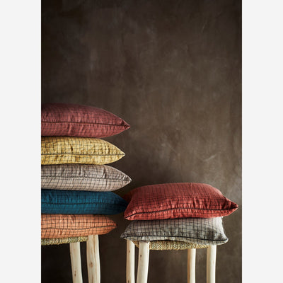 Madam Stoltz Checked Linen Cushion Cover Linen - Scandi Minimal