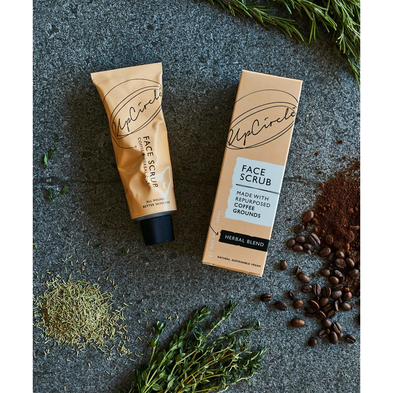 UpCircle Coffee Face Scrub Herbal Blend - Scandi Minimal
