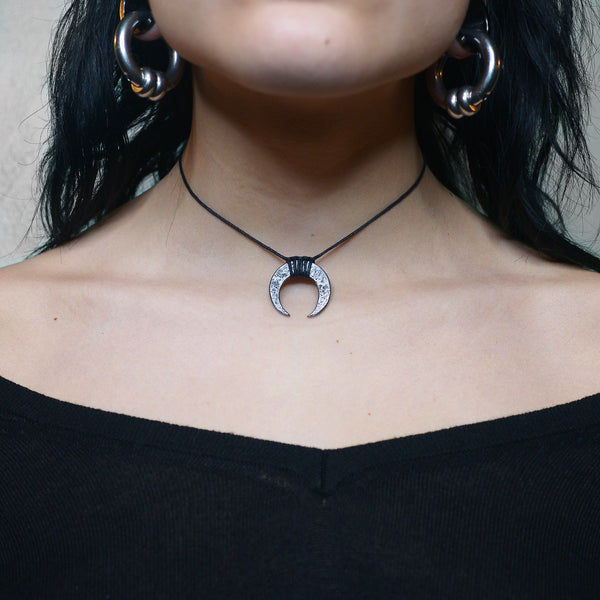 Steel Crescent Moon Pendant