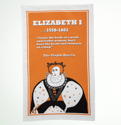 Elizabeth I tea towel by Cole of London