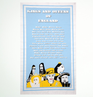 Kings and queens tea towel by Cole of London