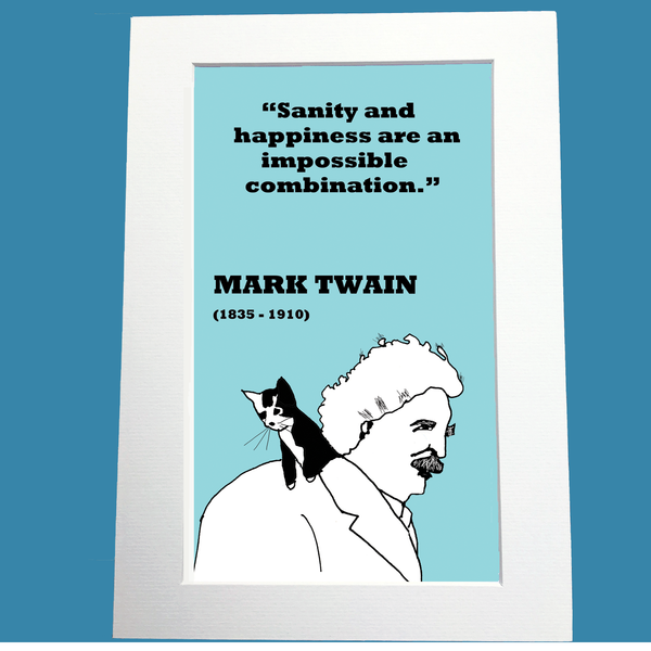 Mark Twain Print (on happiness)