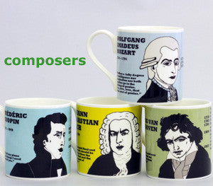SET OF FOUR COMPOSER MUGS