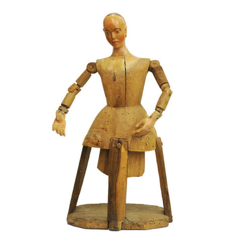Walnut articulated Santos figure, Spain, 18th century