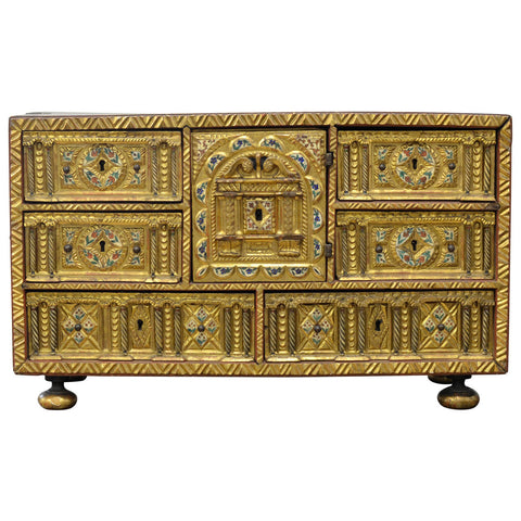 17th Century Spanish Giltwood Papillero Table Cabinet