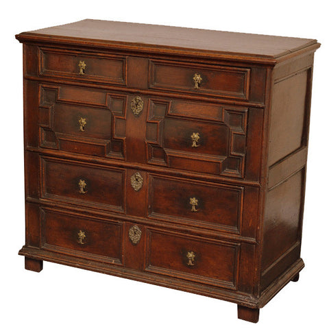 Oak geometric moulded chest of drawers, English circa 1680