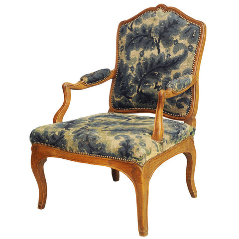 Louis XV style beechwood fauteuil (armchair) with needlework covers, French, 19th century