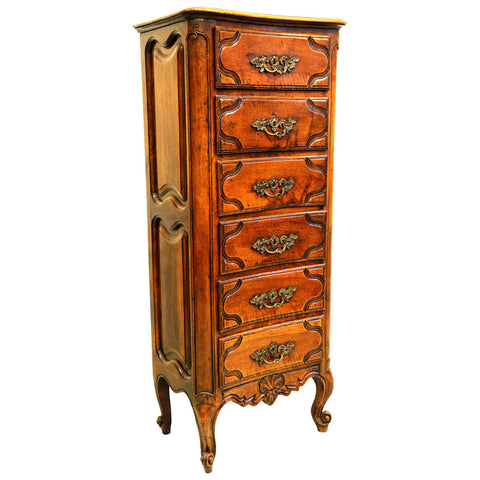 Walnut six drawer tall chest, French, 18th century