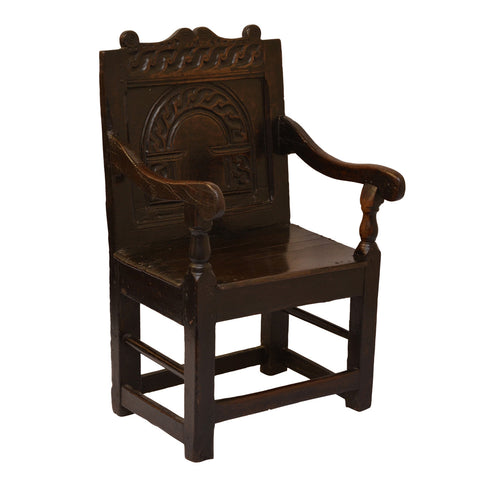 Oak Wainscot Armchair, English mid 17th century