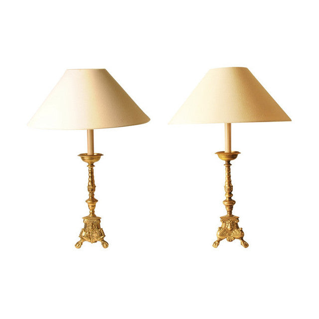 Pair brass candlestick lamps, Dutch, 18th century style, lighting - Kate Thurlow | Gallery Forty One