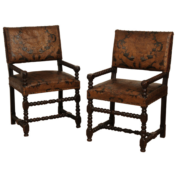 Pair walnut armchairs with embossed leather, Dutch circa 1660