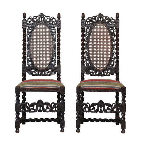 Pair of Walnut Carolean style hall chairs, English 19th century