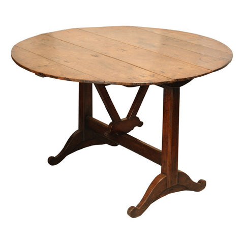 French oak tilt top vigneron / wine tasting table, circa 1800