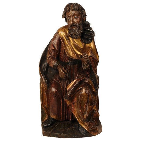 Carved limewood sculpture of a prophet, Swabian circa 1500, Sculpture - Kate Thurlow | Gallery Forty One