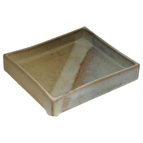Flambé glazed rectangular ceramic dish, Edward Hughes, British, (1953 - 2005)