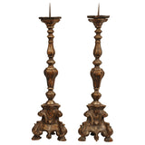 Pair silver gilt carved wood candlesticks, Italy circa 1700, lighting - Kate Thurlow | Gallery Forty One