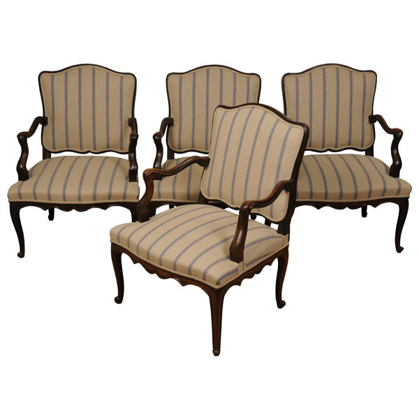Four walnut fauteuils/open armchairs, French Louis XV, mid 18th century, armchair - Kate Thurlow | Gallery Forty One