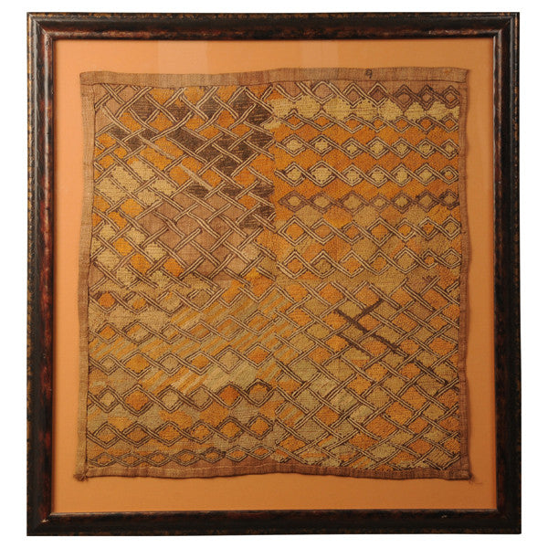 Framed Kuba woven raffia cloth, Congo, early 20th century