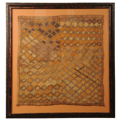 Framed Kuba woven raffia cloth, Congo, mid 20th century