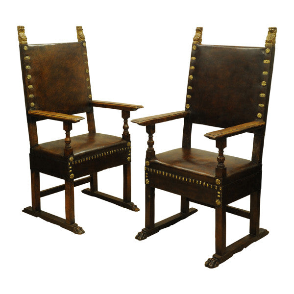 Pair walnut leather upholstered throne chairs, Italy circa 1660, Seating - Kate Thurlow | Gallery Forty One