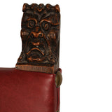 Walnut chair with lion mask finials, Italy circa 1660