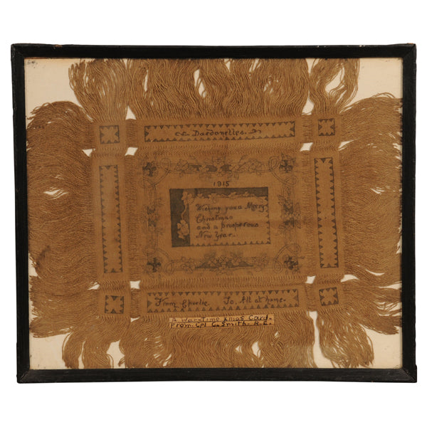 "Drawn thread textile ""card"", Dardanelles December 1915, Textiles - Kate Thurlow 