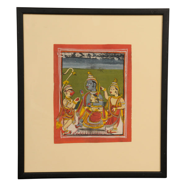 Indian miniature painting of Rama and Sita enthroned, Rajasthan, late 19th century