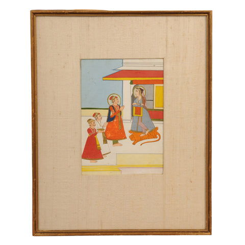 Indian miniature painting of Durga receiving offerings.   Rajasthan, mid 19th century
