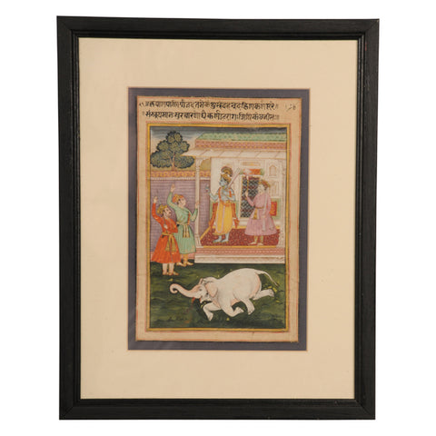 Indian miniature painting of Krishna and the demon elephant.  Rajasthan, mid 19th century
