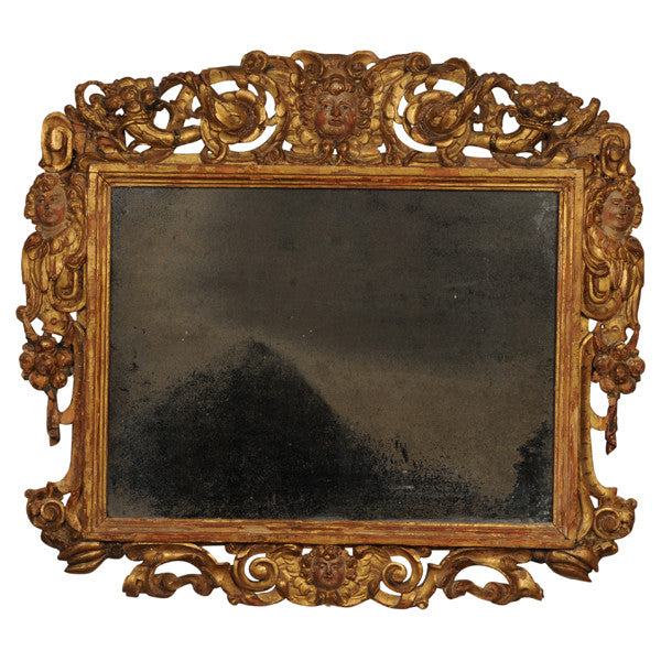 Carved giltwood Sansovino frame, now a mirror, Italy, 17th century
