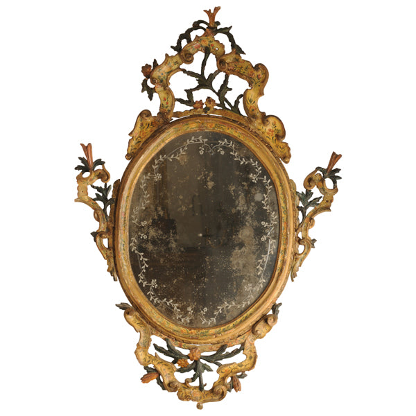 Painted Venetian Mirror, Italian mid 18th century