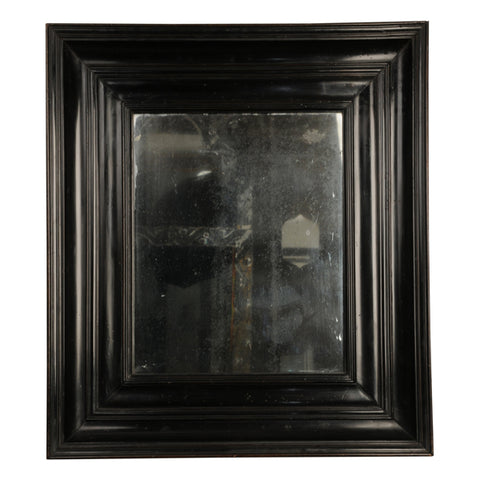 Ebonised fruitwood picture frame mirror, Dutch circa 1720