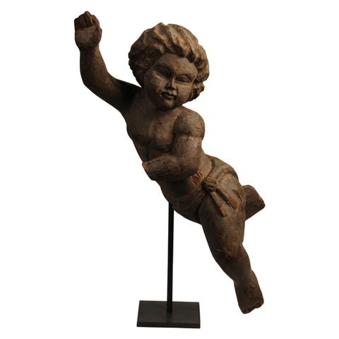Hardwood carving of a putto, Spanish colonial, 1930s