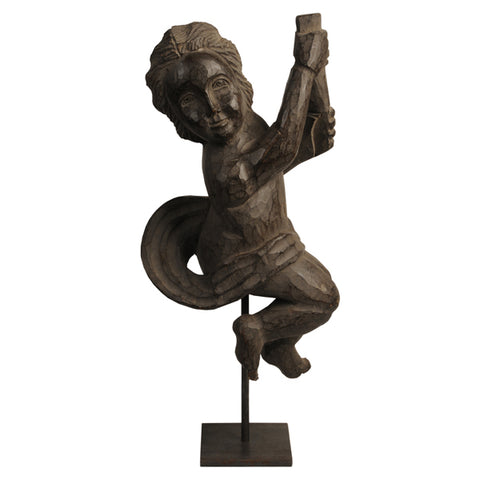 Hardwood carving of a putto holding a scroll, Spanish Colonial, 1950s
