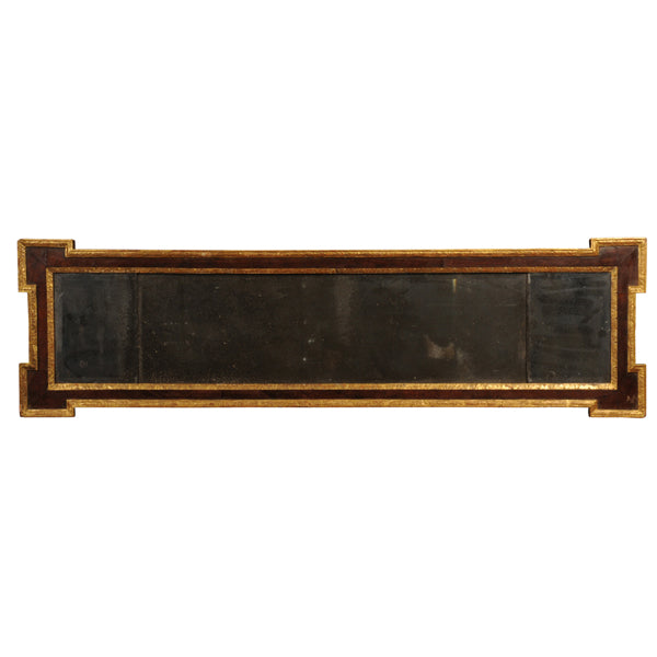 Walnut and parcel gilt overmantle mirror, George II, circa 1740