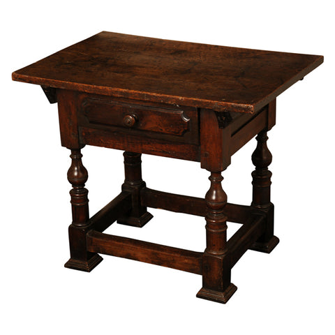 Walnut small table with drawer, Bologna, Italy, circa 1650