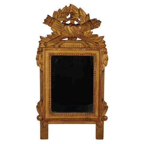 Louis XVI carved giltwood mirror with entwined hearts, French, 18th century