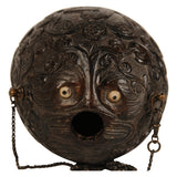 "Carved coconut powder flask ""bugbear"", Spanish Colonial, early 19th century, Folk Art - Kate Thurlow 