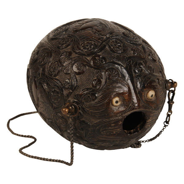 "Carved coconut powder flask ""bugbear"", Spanish Colonial, 19th century, sailor's work, folk art"