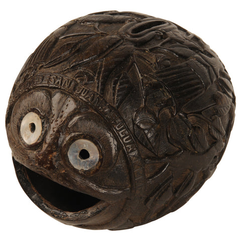 "Carved coconut money box ""bugbear"", Spanish Colonial, early 19th century"