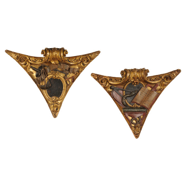 A pair of corner bosses with Masonic emblems, second half of the 18th century, Decorative Object - Kate Thurlow | Gallery Forty One