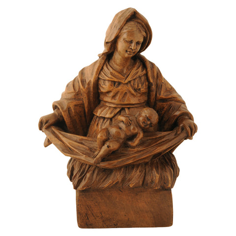 Small limewood carving of the Madonna and Child, French, late 17th century