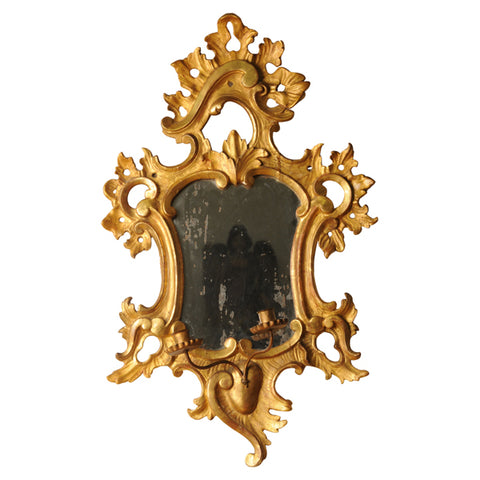 Large giltwood girandole/mirror with twin candleholder, Italy late 18th century
