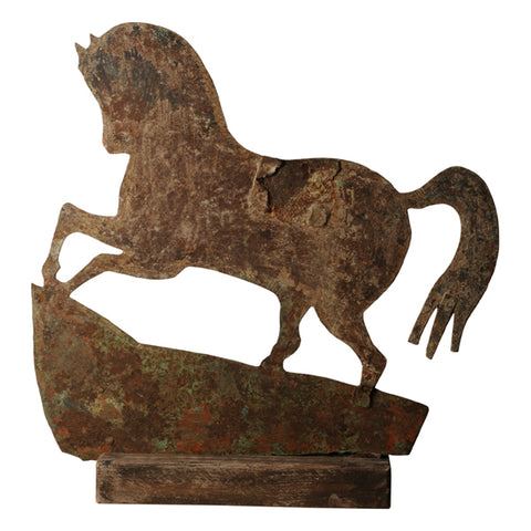 Folk art iron silhouette horse sign, French early 20th century