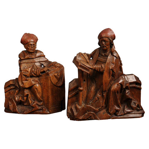 Two Fruitwood carvings of Bishops, Switzerland, 16th century, Sculpture - Kate Thurlow | Gallery Forty One