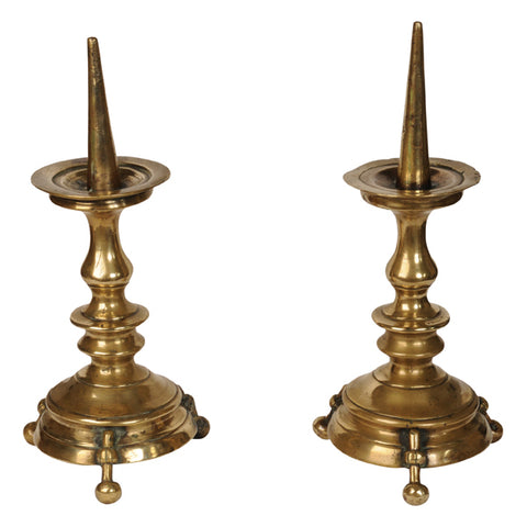 Pair brass pricket candlesticks in the Gothic manner, circa 1780