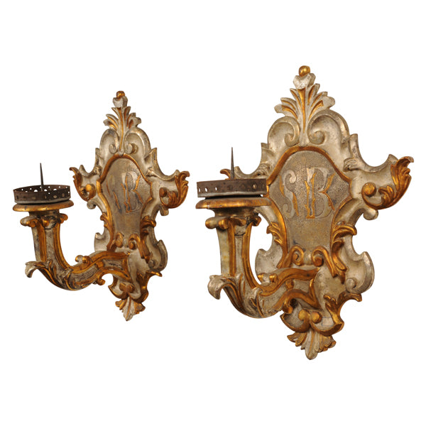 Pair gilt and silver gilt wall lights, Italy late 19th century, lighting - Kate Thurlow | Gallery Forty One
