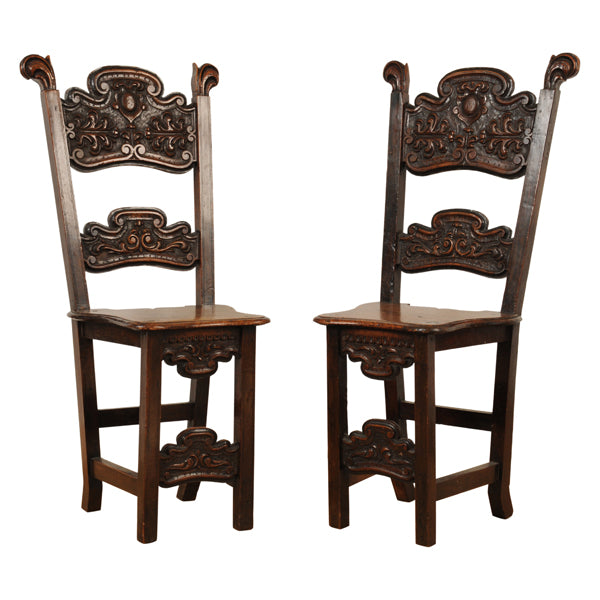 Pair rare walnut chairs or sgabelli, North Italy, mid 17th century, Seating - Kate Thurlow | Gallery Forty One