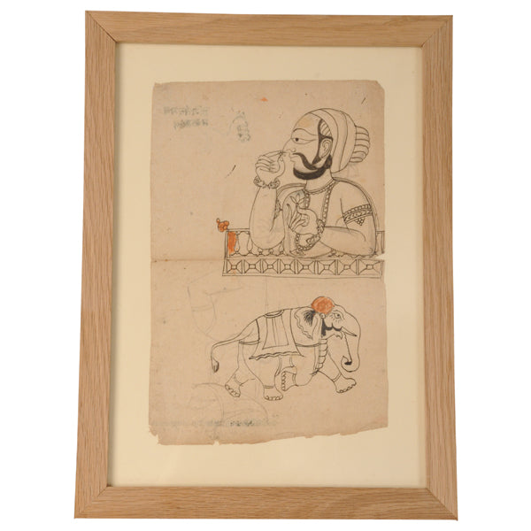 Framed ink on paper drawing, north India, circa 1880, Paintings, prints and photographs - Kate Thurlow | Gallery Forty One